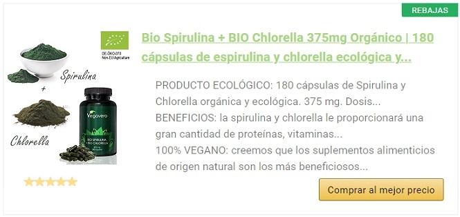 Spirulina y chlorella bio vegavero alargado