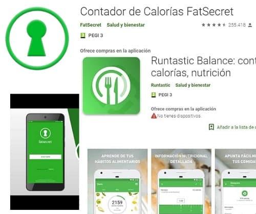 Contador de calorías fat secret app