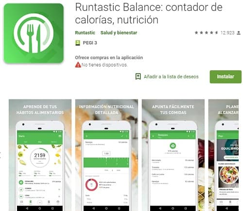 Runtastic Balance app nutricion